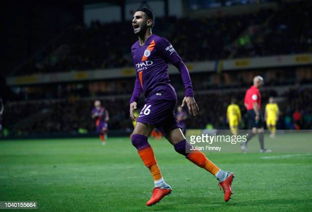 Riyad Mahrez of Manchester City celebrates after scoring his team's second goal during the Carabao Cup Third Round match between Oxford United and...