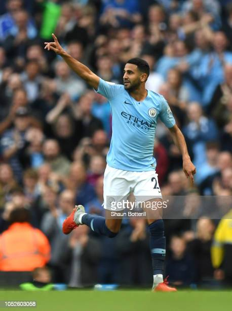 Riyad Mahrez of Manchester City celebrates after scoring his team's fourth goal during the Premier League match between Manchester City and Burnley...