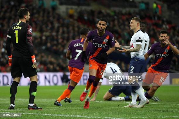 Riyad Mahrez of Manchester City celebrates after scoring his team's first goal during the Premier League match between Tottenham Hotspur and...