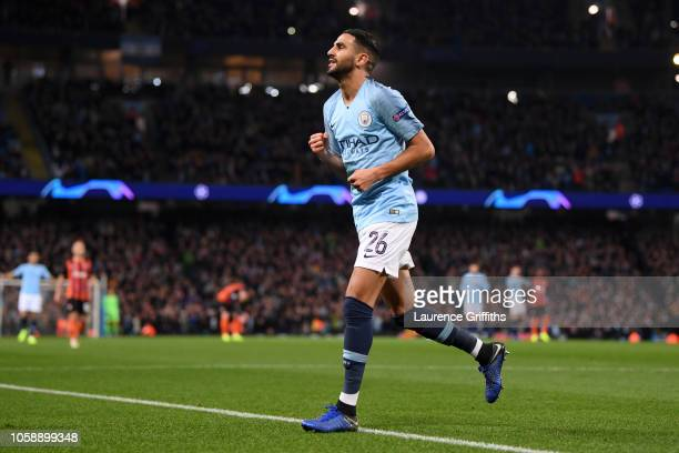 Riyad Mahrez of Manchester City celebrates after scoring his team's fifth goal during the Group F match of the UEFA Champions League between...