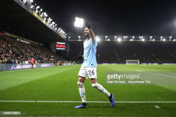 Riyad Mahrez of Manchester City celebrates after scoring his team's second goal during the Premier League match between Watford FC and Manchester...