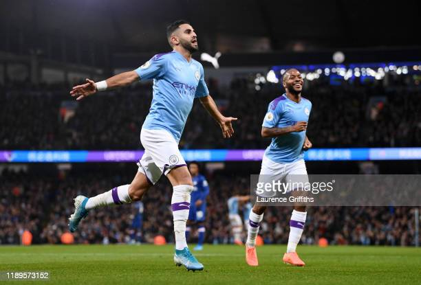 Riyad Mahrez of Manchester City celebrates after scoring his team's second goal during the Premier League match between Manchester City and Chelsea...