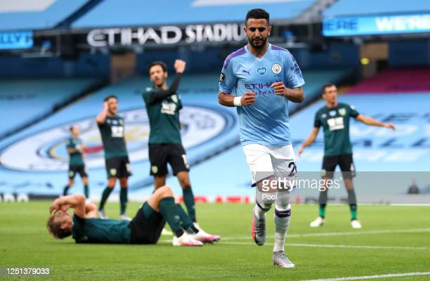 Riyad Mahrez of Manchester City celebrates after scoring his teams second goal during the Premier League match between Manchester City and Burnley FC...
