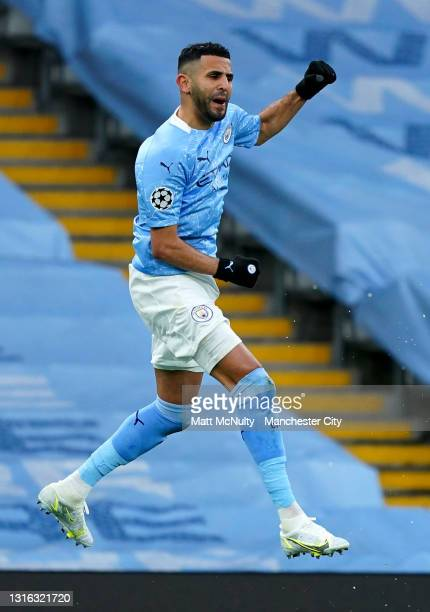 Riyad Mahrez of Manchester City celebrates after scoring his team's first goal during the UEFA Champions League Semi Final Second Leg match between...