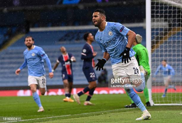 Riyad Mahrez of Manchester City celebrates after scoring his team's second goal during the UEFA Champions League Semi Final Second Leg match between...