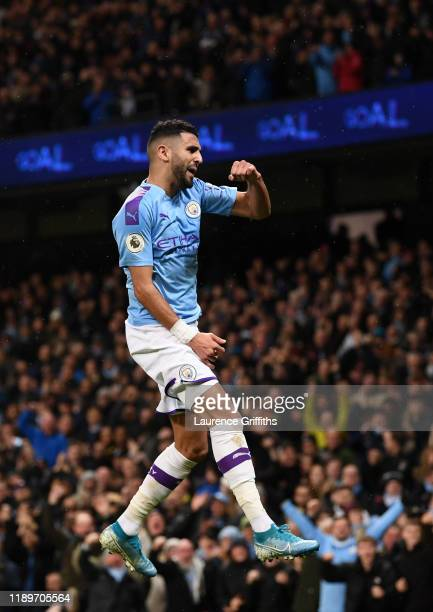 Riyad Mahrez of Manchester City celebrates after scoring the second goal during the Premier League match between Manchester City and Chelsea FC at...