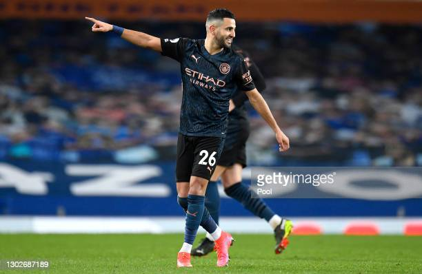 Riyad Mahrez of Manchester City celebrates after scoring their side's second goal during the Premier League match between Everton and Manchester City...
