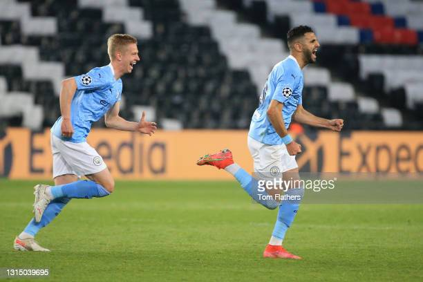 Riyad Mahrez of Manchester City celebrates after scoring their side's second goal during the UEFA Champions League Semi Final First Leg match between...