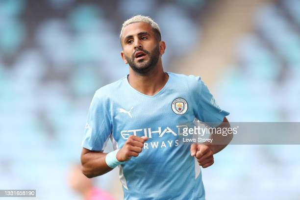 Riyad Mahrez of Manchester City celebrates after scoring their side's third goal during the Pre-Season Friendly match between Manchester City and...