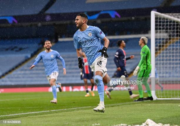 Riyad Mahrez of Manchester City celebrates scoring his team's second goal during the UEFA Champions League Semi Final Second Leg match between...