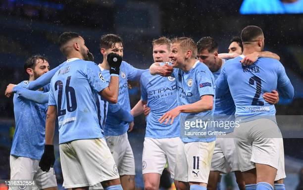 Riyad Mahrez of Manchester City celebrates with Oleksandr Zinchenko after scoring his team's second goal during the UEFA Champions League Semi Final...