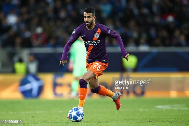 Riyad Mahrez of Manchester City controls the ball during the Group F match of the UEFA Champions League between TSG 1899 Hoffenheim and Manchester...