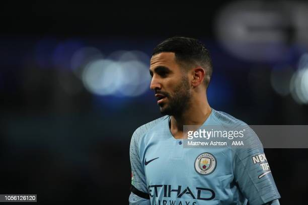 Riyad Mahrez of Manchester City during the Carabao Cup Fourth Round match between Manchester City and Fulham at Etihad Stadium on November 1 2018 in...