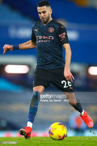 Riyad Mahrez of Manchester City during the Premier League match between Everton and Manchester City at Goodison Park on February 17, 2021 in...