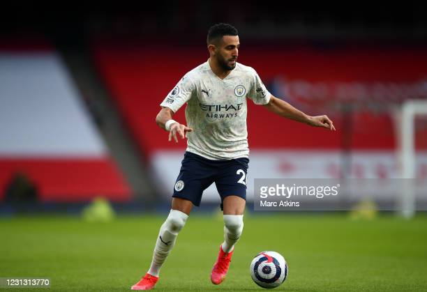 Riyad Mahrez of Manchester City during the Premier League match between Arsenal and Manchester City at Emirates Stadium on February 21, 2021 in...