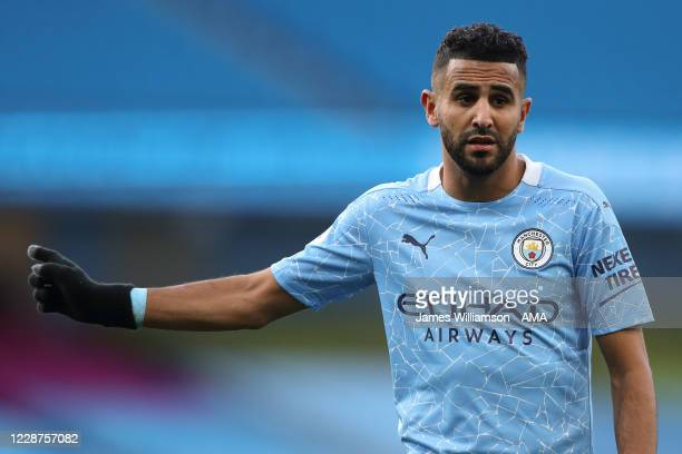 Riyad Mahrez of Manchester City during the Premier League match between Manchester City and Leicester City at Etihad Stadium on September 27 2020 in...