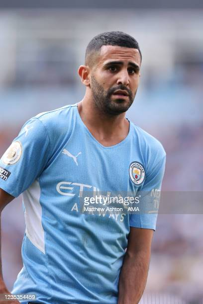 Riyad Mahrez of Manchester City during the Premier League match between Manchester City and Southampton at Etihad Stadium on September 18, 2021 in...