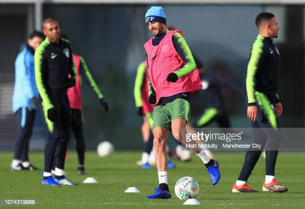 Riyad Mahrez of Manchester City during the training session at Manchester City Football Academy on December 17 2018 in Manchester England
