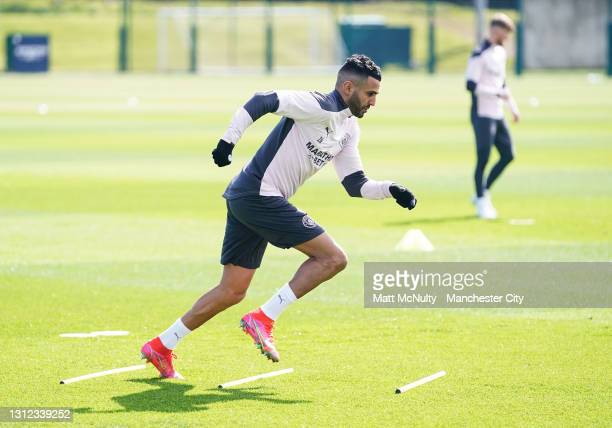 Riyad Mahrez of Manchester City in action during a training session at Manchester City Football Academy on April 13, 2021 in Manchester, England.