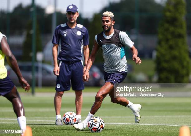 Riyad Mahrez of Manchester City in action during a training session at Manchester City Football Academy on July 20, 2021 in Manchester, England.