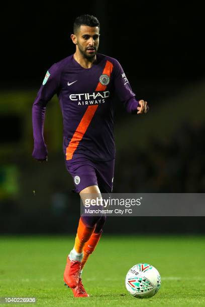 Riyad Mahrez of Manchester City in action during the Carabao Cup Third Round match between Oxford United and Manchester City at Kassam Stadium on...