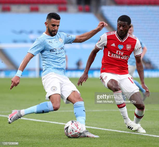 Riyad Mahrez of Manchester City in action during the FA Cup Semi Final match between Arsenal and Manchester City at Wembley Stadium on July 18 2020...