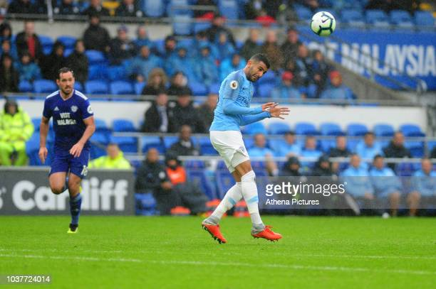 Riyad Mahrez of Manchester City in action during the Premier League match between Cardiff City and Manchester City at Cardiff City Stadium on...