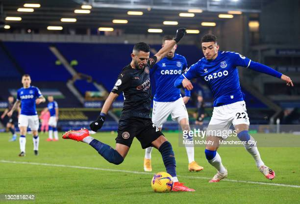 Riyad Mahrez of Manchester City in action during the Premier League match between Everton and Manchester City at Goodison Park on February 17, 2021...