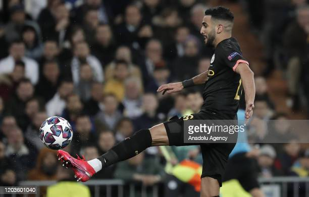 Riyad Mahrez of Manchester City in action during the UEFA Champions League round of 16 first leg soccer match between Real Madrid and Manchester City...