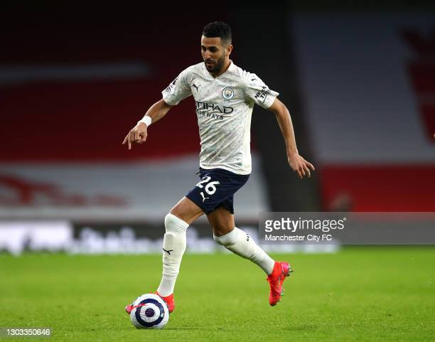 Riyad Mahrez of Manchester City in possession during the Premier League match between Arsenal and Manchester City at Emirates Stadium on February 21,...
