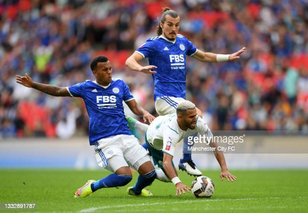 Riyad Mahrez of Manchester City is fouled by Ryan Bertrand of Leicester City during The FA Community Shield Final between Manchester City and...