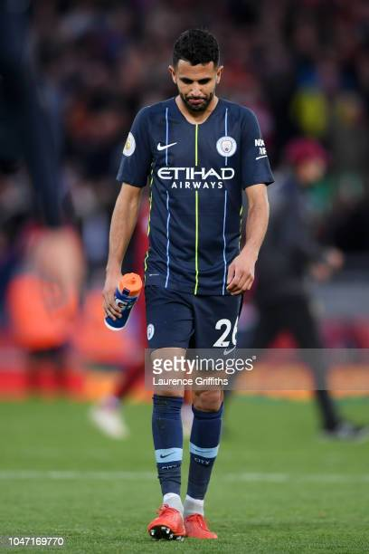 Riyad Mahrez of Manchester City looks dejected after the Premier League match between Liverpool FC and Manchester City at Anfield on October 7 2018...