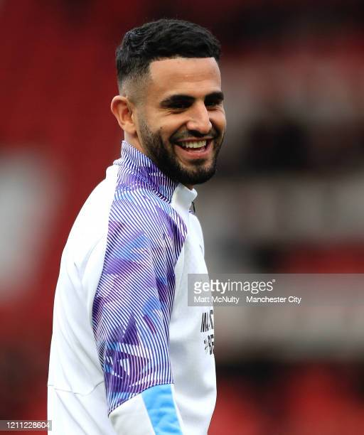 Riyad Mahrez of Manchester City looks on during the Premier League match between Manchester United and Manchester City at Old Trafford on March 08...