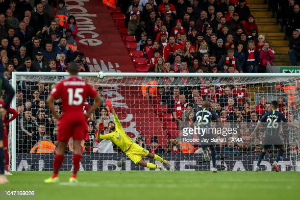 Riyad Mahrez of Manchester City misses a penalty during the Premier League match between Liverpool FC and Manchester City at Anfield on October 7...