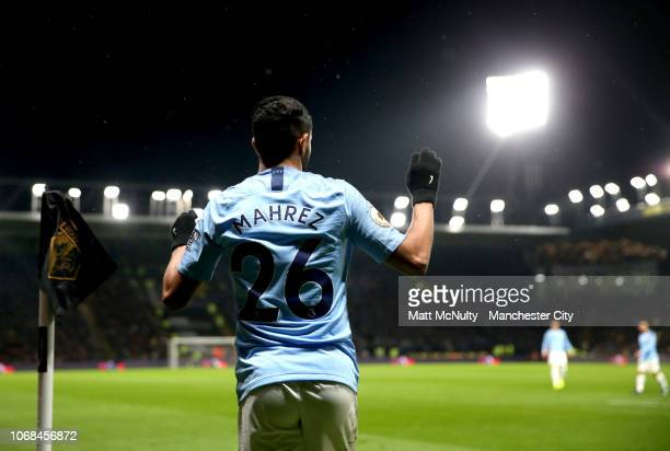 Riyad Mahrez of Manchester City prepares to take a corner kick during the Premier League match between Watford FC and Manchester City at Vicarage...