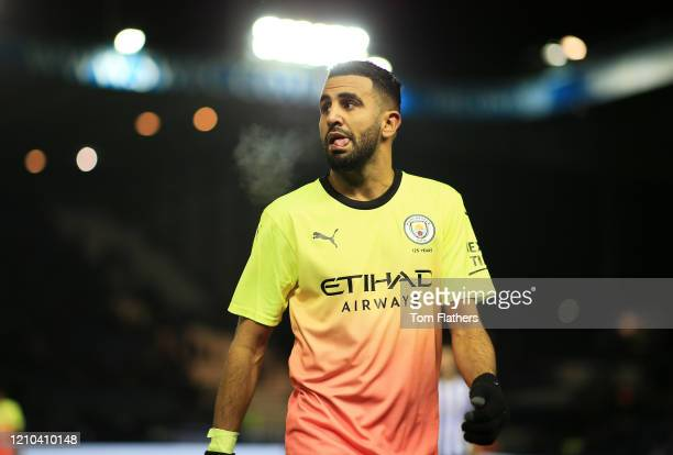 Riyad Mahrez of Manchester City reacts at half time during the FA Cup Fifth Round match between Sheffield Wednesday and Manchester City at...