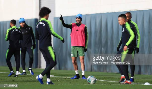 Riyad Mahrez of Manchester City reacts during the training session at Manchester City Football Academy on December 17 2018 in Manchester England