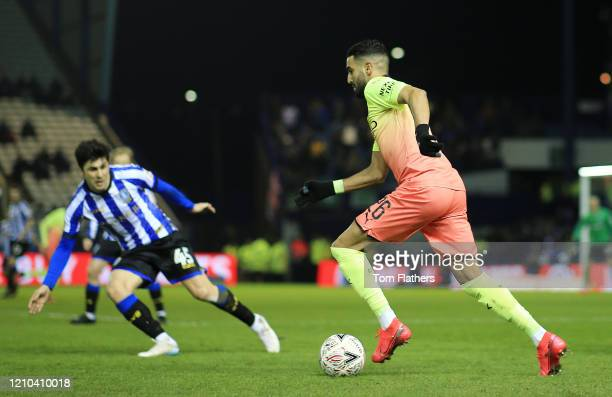 Riyad Mahrez of Manchester City runs with the ball during the FA Cup Fifth Round match between Sheffield Wednesday and Manchester City at...