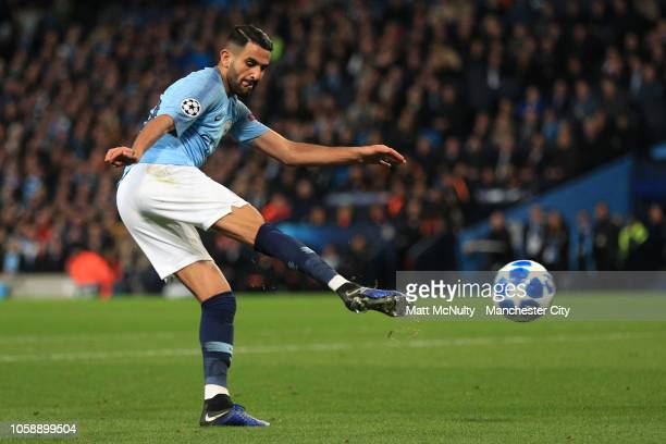 Riyad Mahrez of Manchester City scores his sides 5th goal during the Group F match of the UEFA Champions League between Manchester City and FC...