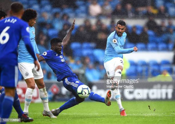 Riyad Mahrez of Manchester City scores his team's fifth goal during the Premier League match between Cardiff City and Manchester City at Cardiff City...