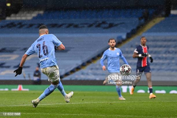 Riyad Mahrez of Manchester City scores his team's second goal during the UEFA Champions League Semi Final Second Leg match between Manchester City...
