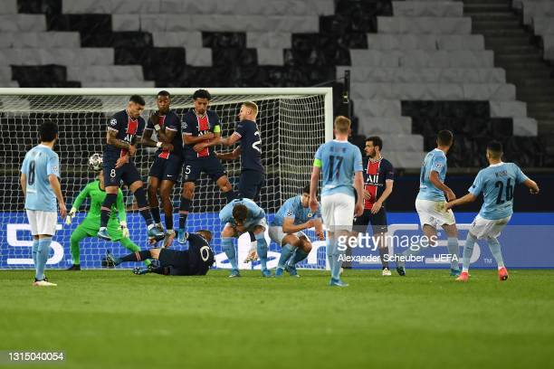 Riyad Mahrez of Manchester City scores their side's second goal past Keylor Navas of Paris Saint-Germain during the UEFA Champions League Semi Final...