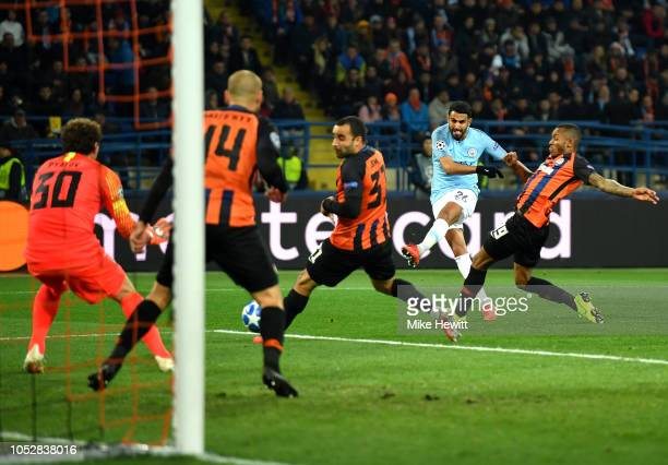Riyad Mahrez of Manchester City shoots during the Group F match of the UEFA Champions League between FC Shakhtar Donetsk and Manchester City at...