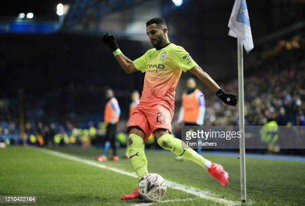 Riyad Mahrez of Manchester City takes a corner during the FA Cup Fifth Round match between Sheffield Wednesday and Manchester City at Hillsborough on...