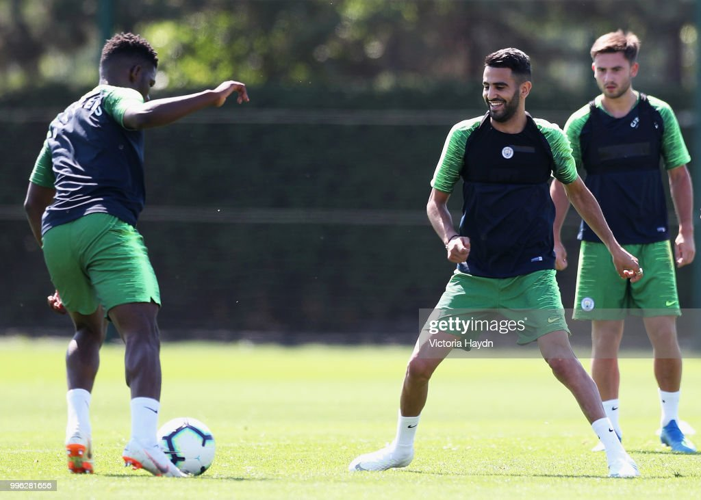 Riyad Mahrez of Manchester City takes part in his first training session at Manchester City Football Academy on July 11, 2018 in Manchester, England.