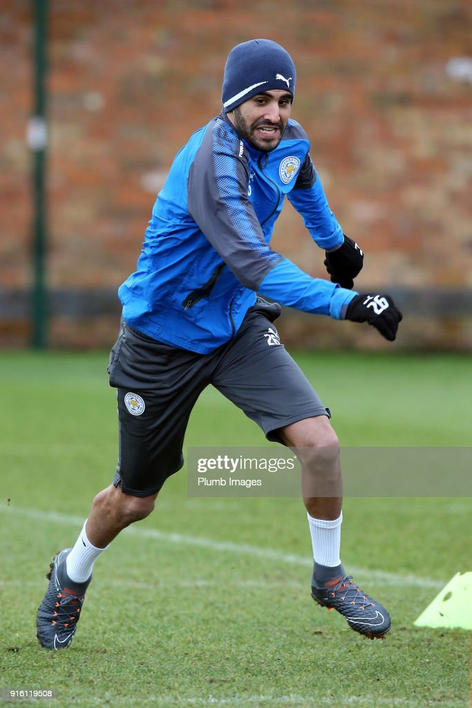 Riyad Mahrez returns to Leicester City training during the Leicester City training session at Belvoir Drive Training Complex on February 09, 2018 in Leicester, United Kingdom.