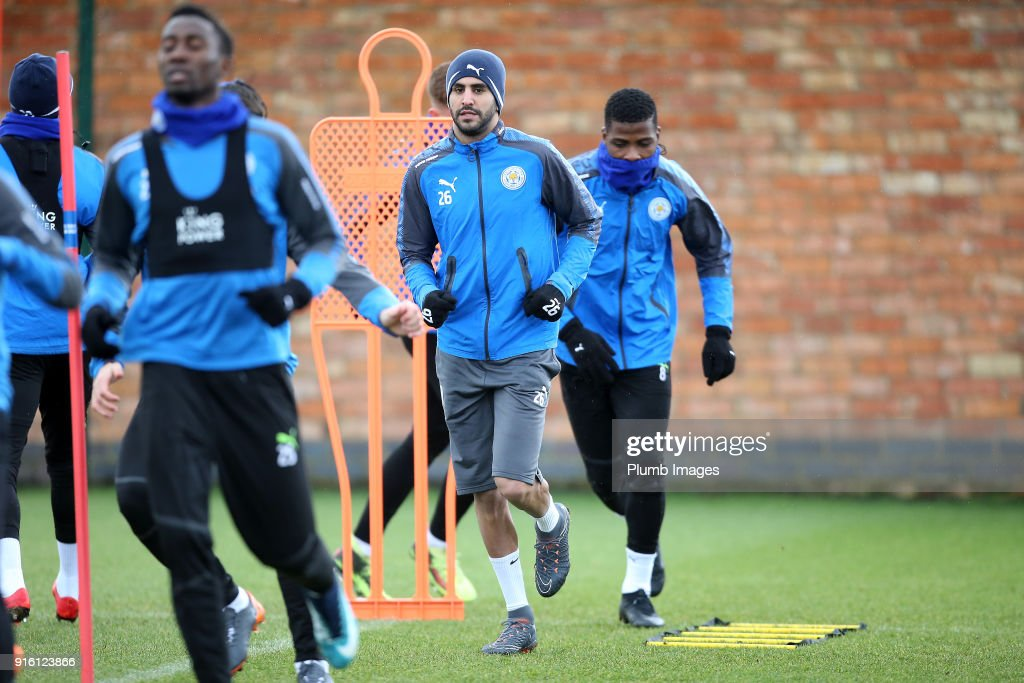 Riyad Mahrez returns to Leicester City training during the Leicester City training session at Belvoir Drive Training Complex on February 09 , 2018 in Leicester, United Kingdom.