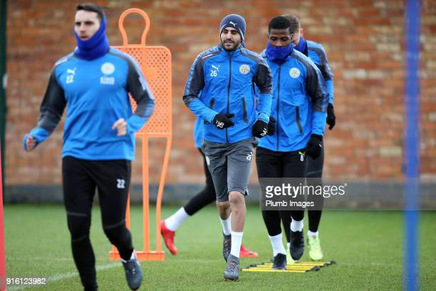 Riyad Mahrez returns to Leicester City training during the Leicester City training session at Belvoir Drive Training Complex on February 09 2018 in...