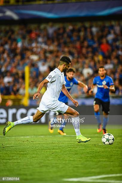 Riyad mahrez scores the penalty for 03 during the Champions League match between Club Brugge FC and Leicester City FC Group stage matchday one In Jan...