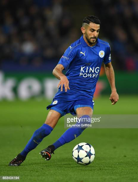 Riyad MAhrezo of Leicester City in action during the UEFA Champions League Round of 16 second leg match between Leicester City and Sevilla FC at The...